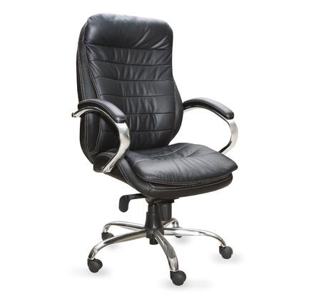 白い背景に黒のオフィスの椅子 写真素材