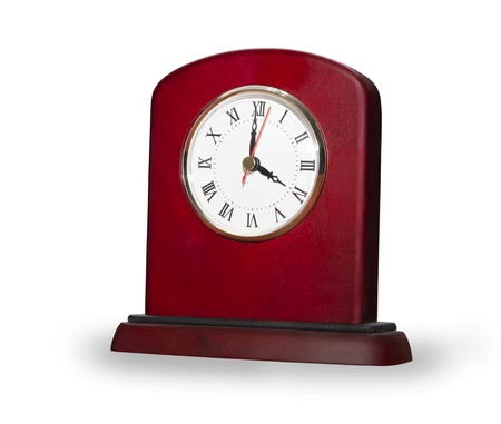 Elegant clock from red wooden isolated over white Stock Photo - 10103250