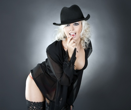blonde fashion woman portrait wearing black hat over dark photo