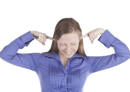 picture of  young woman with fingers in ears Stock Photo - 10430661