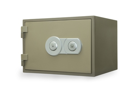 Metal safe isolated on white photo