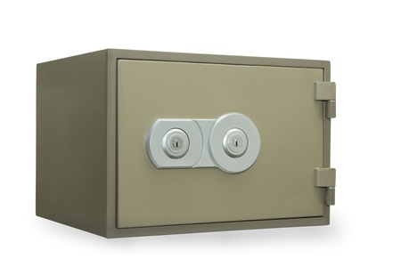 Metal safe isolated on white Stock Photo - 11114936