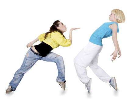 Teenage girl dancing hip-hop over white background Imagens - 11114901