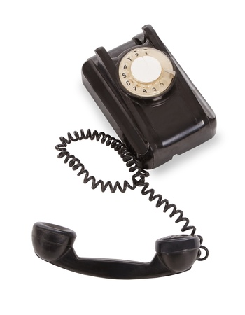 Old black telephobe isolated over white Stock Photo - 12359216