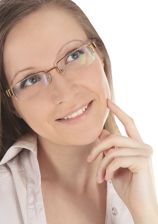 Portrait of young beautiful woman in spectacles over white photo