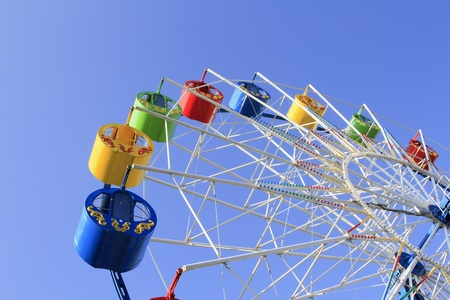 Wheel of review in the park on blue sky background