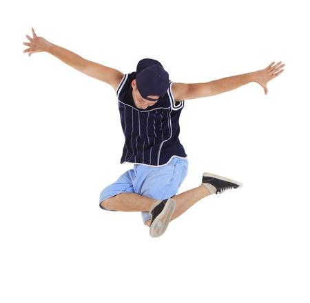 stunts: Giovane ballerino hip-hop su sfondo bianco