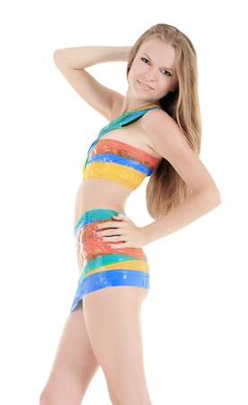 Bright picture of sexy woman in color scotch tape Stock Photo - 13019104