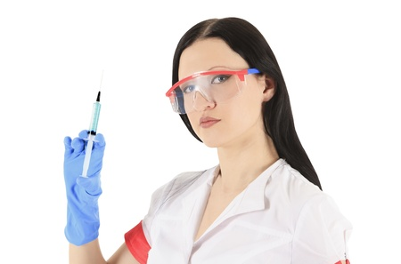 female doctor wearing a protective glasses with syringe photo