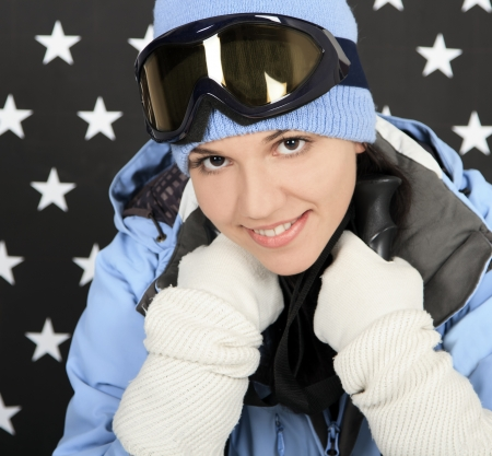 Happy girl  in the winter sportwear photo