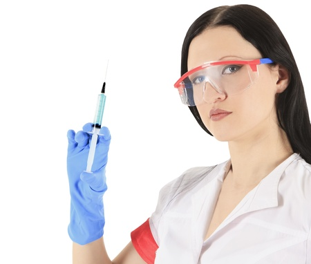 female doctor wearing a protective glasses with syringe Stock Photo - 13645863