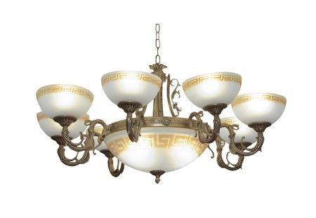 Luxury chandelier isolated on white photo