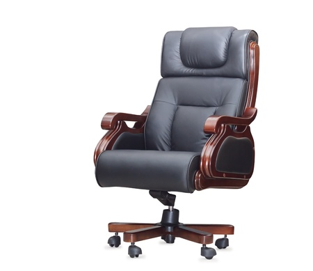 The office chair from black leather. Isolated Stock Photo - 14308955