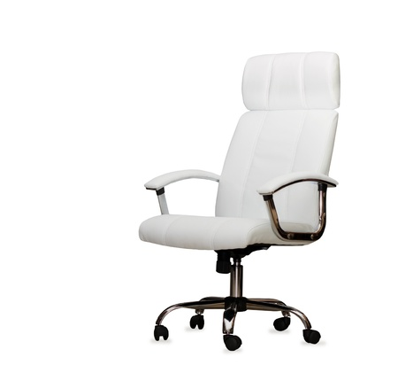 elbow chair: The office chair from white leather. Isolated