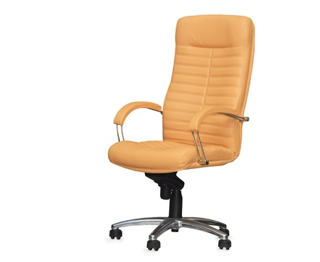 The office chair from beige leather. Isolated photo