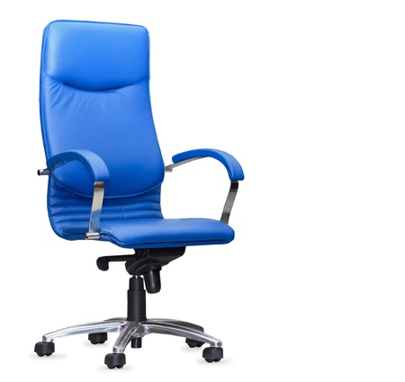 The office chair from bue leather. Isolated Standard-Bild