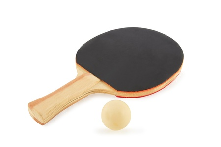 Table tennis racket and ball on a white background Stock Photo - 17204568