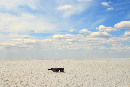 sun glasses at the Salt Lake Baskunchak, Russia Stock Photo - 17204653