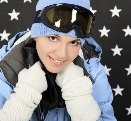sportwear: Happy girl  in the winter sportwear Stock Photo