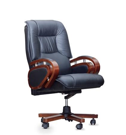 黒い革オフィスの椅子。分離されました。 写真素材