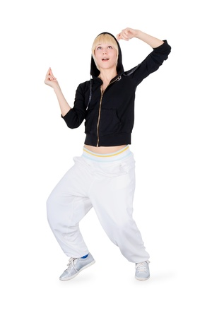 Hip-Hop Dancer. Dancing Teenage Girl in action. photo