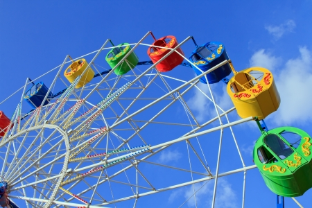 Underside view of a ferris wheel over blue sky photo