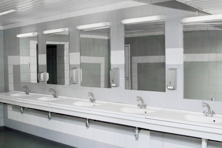 public toilet: interior of private restroom