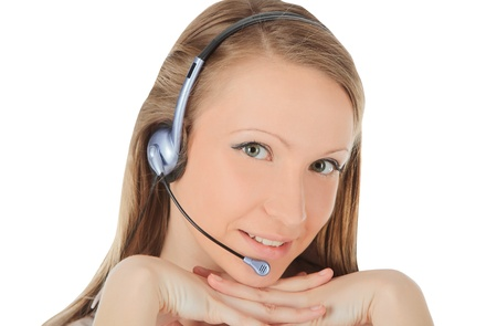 Portrait of a successful young female call centre employee wearing a headset  Stock Photo - 18793634