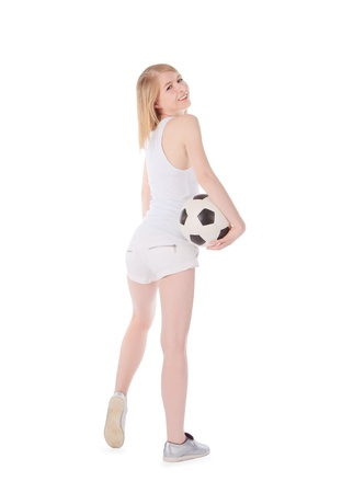 Woman with soccer ball photo