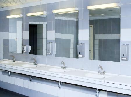 pedestal sink: interior of private restroom