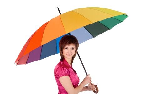 blonde minority: Woman with spectrum umbrella over white Stock Photo