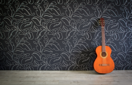 country house: Acoustic guitar in empty room background