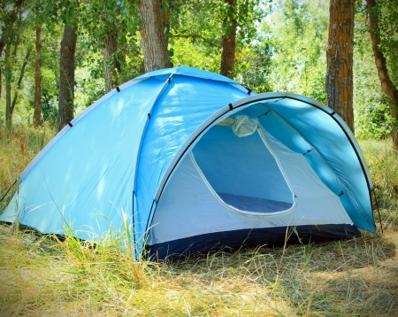 Tourist tent in the green fores