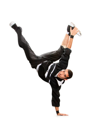Teenager dancing break dance in action photo