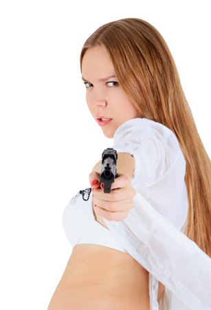 Young blonde with a gun photo