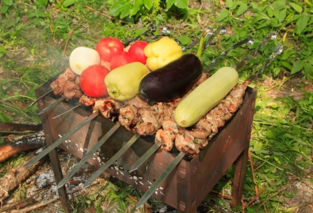 Meat and vegetables are roasted on the grill photo