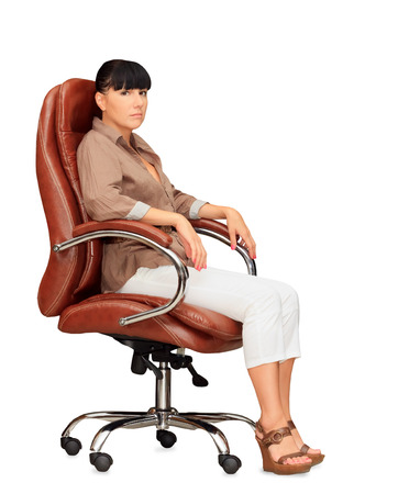 Woman sitting in office chair photo