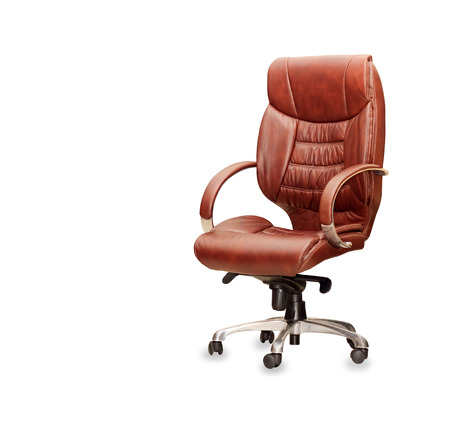 The office chair from brown leather  Isolated photo