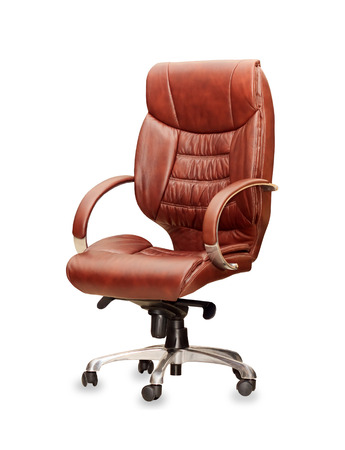 The office chair from brown leather. Isolated photo