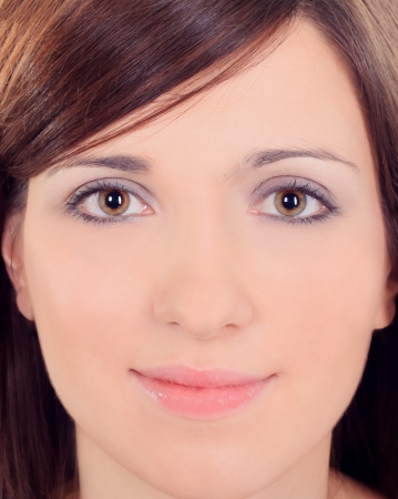Portrait close up of young beautiful woman photo