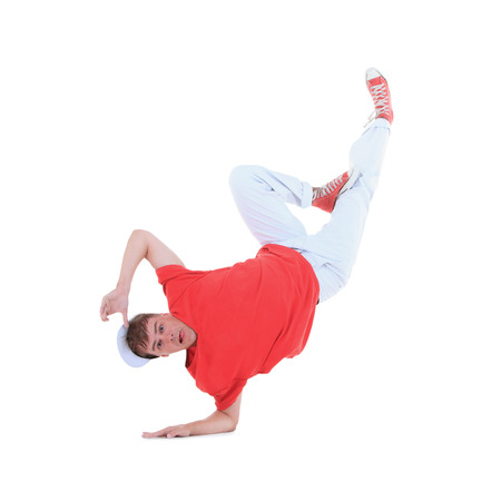 Teenager dancing breakdance in action photo