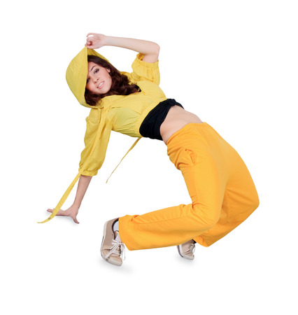 Teenager dancing breakdance in action over white photo
