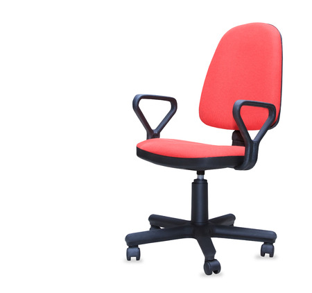 Red office chair isolated over white photo