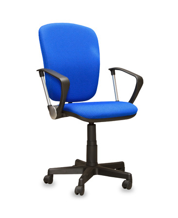 The blue office chair. Isolated photo