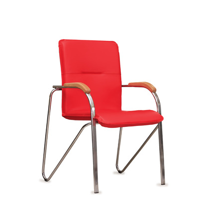 The office chair from red  leather  Isolated photo