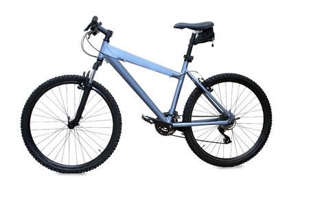 blue mountain bike isolated over white  photo