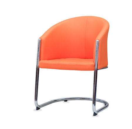 elbow chair: The office chair from orange leather. Isolated