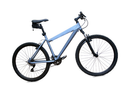 blue mountain bike isolated over white background photo