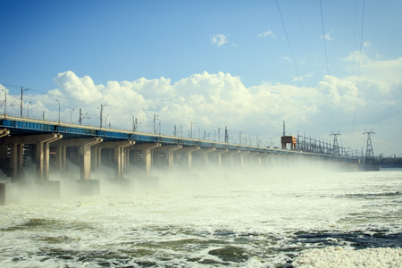 volzhskiy: Reset of water at hydroelectric power station on the river