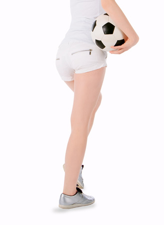 bare ass: Back view of the girl with soccer ball over white